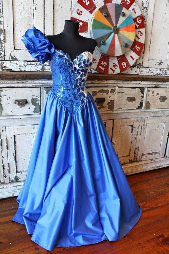 Vintage 1980 Homecoming Queen One Shoulder Blue Sequin Dress