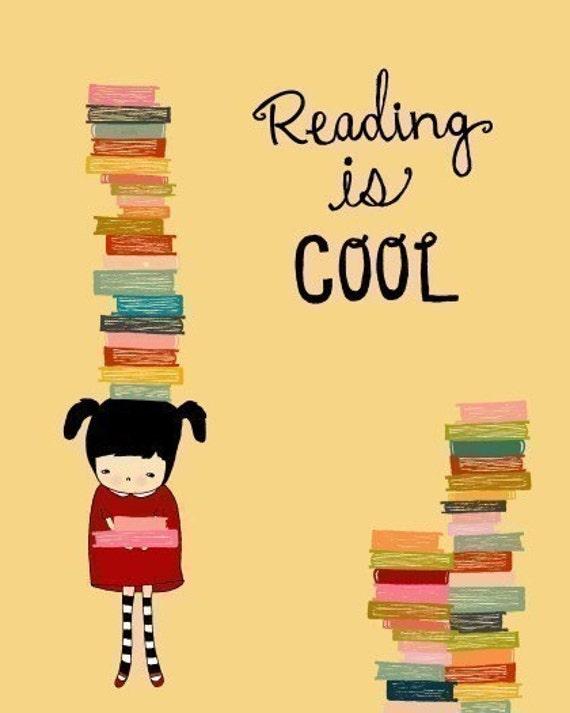 quote illustration art print reading girl books child library - IMAGINATION (girl)