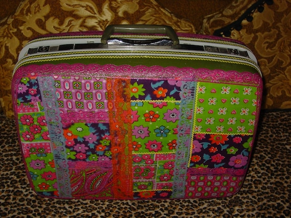Custom commission recycled vintage suitcase YOU CHOOSE your theme by C. Reinke