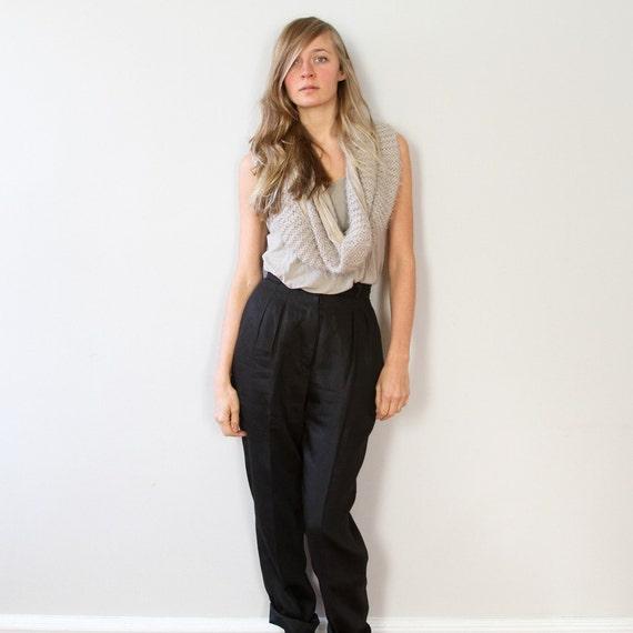 Vintage Black Linen Glimmer Trousers S M