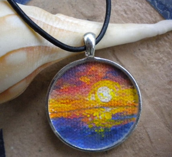 Sunset necklace handpainted tiny canvas on pendant