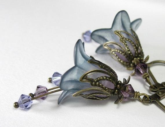Lavender Blue Vintage Style Flower Earrings