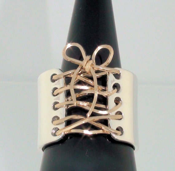 Corset Ring Sterling Silver 14K Gold