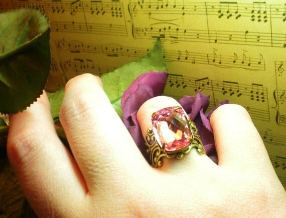 Victorian Plush Pink - Swarovski Crystal - Vintage Estate Rhinestone Cocktail Ring - Alice in Wonder Land Adjustable