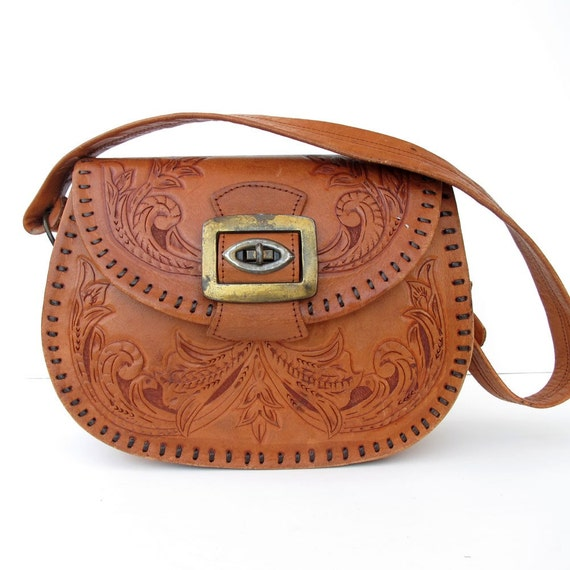 Vintage AWESOME Tooled Leather Saddle bag BEST