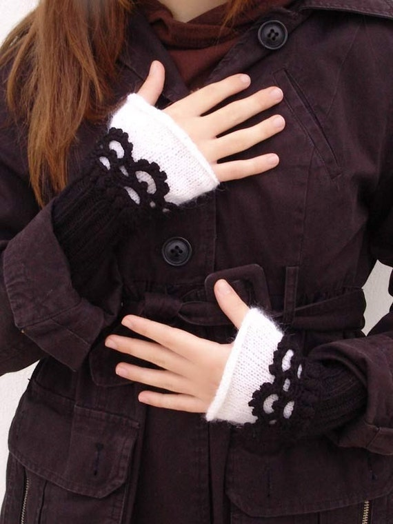 Fingerless mittens Knit, Arm Wrist Warmers, Crochet , classic color black white