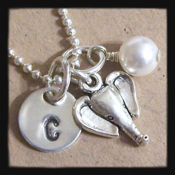Elephant Charm, Initial Disc and Pearl/Birthstone Sterling Silver CONVERSATION Necklace - Hand Stamped