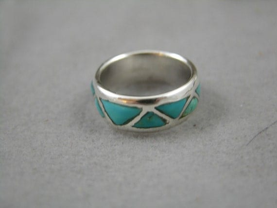 Sterling Silver Turquoise Wedding Band for Lathan From freedomjewelryusa