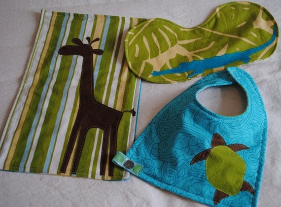 Safari Infant Bib and Burp Cloth Set