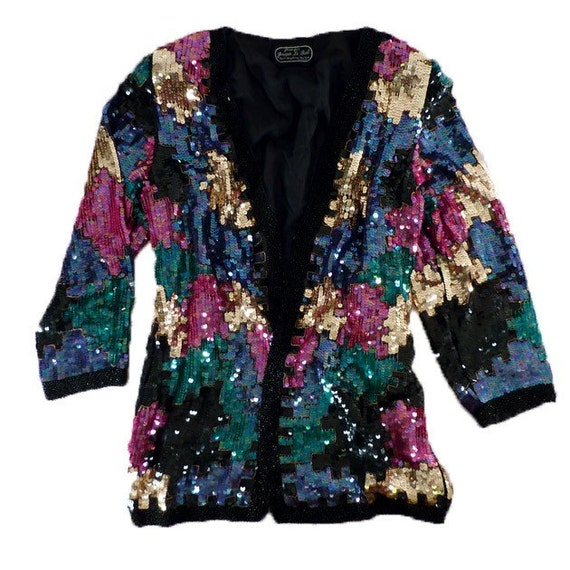 80's sequined avant garde puzzle pieces beaded glam jacket S M