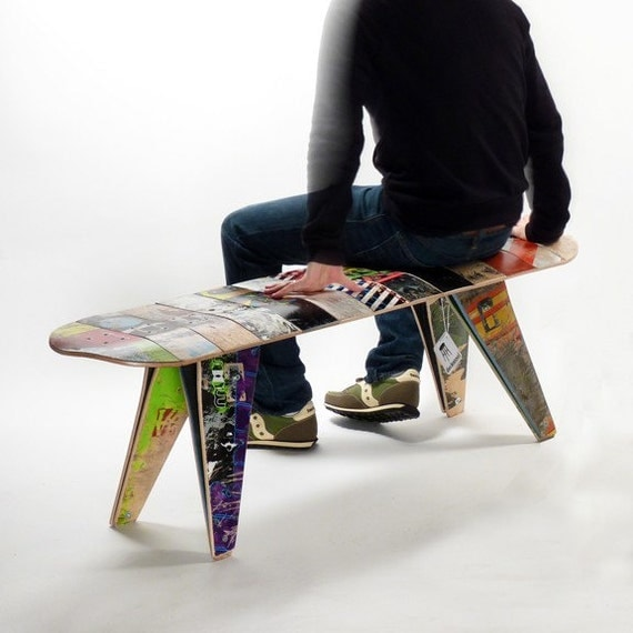 recycled skateboard bench - Custom