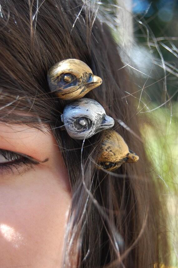 Woodland Fantasy Whimsical Bird Head Hair Pins ooak