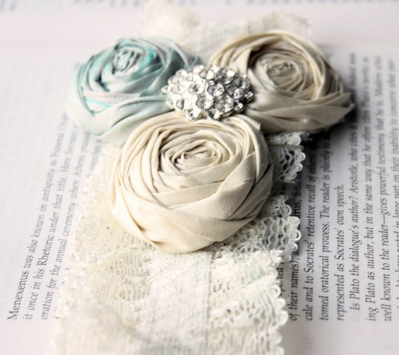 Custom Shabby Chic Rosette GARTER SET (with toss garter) in Aqua Mint and Ivory Winter White with Vintage Jewel Accent - Gift for the Future Bride in Your Life 6-8 week delivery