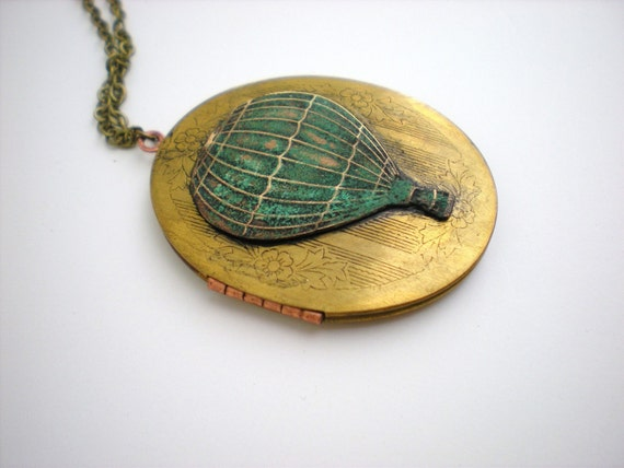 Hot Air Balloon Brass and Patina Locket With Teal Glass Beads
