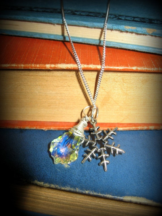 Sterling Wire Wrapped Swarovski Crystal And Snowflake Necklace