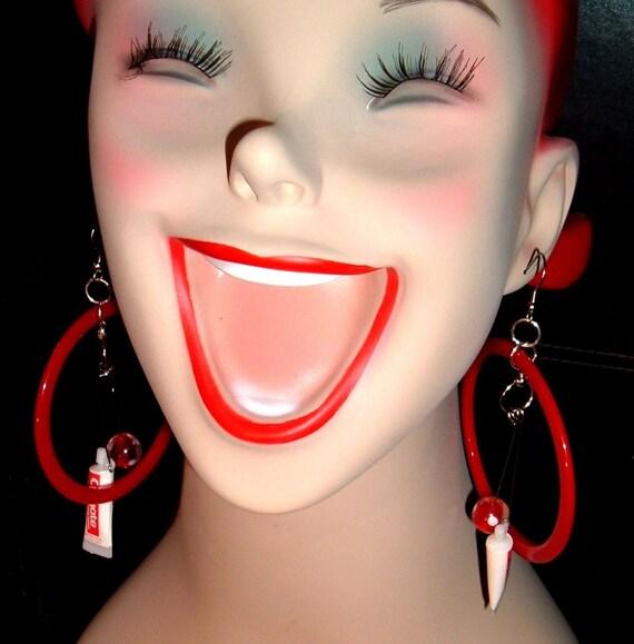 Torturing teeth upcycled ooak reclaimed red toothpaste earrings