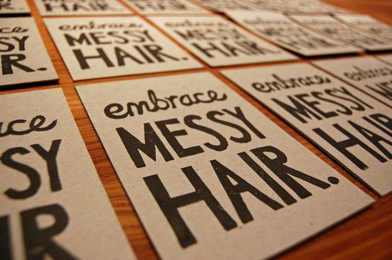 Embrace Messy Hair - Lino Print