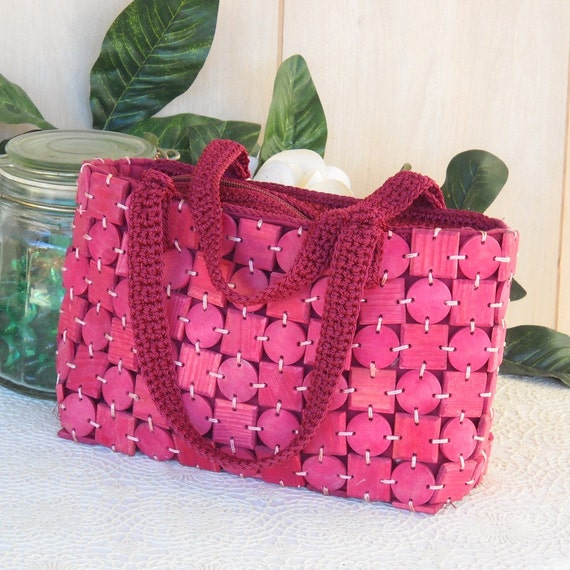 Rose Pink Wood Disc Vintage Handbag