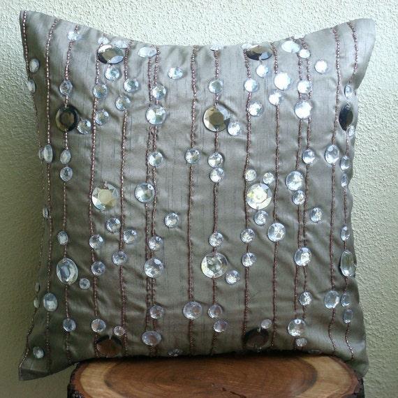Алмазная Strings - Бросьте наволочки - 20х20 дюймов Шелковый Чехол со стразами и вышивкой из бисера