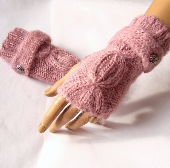 Hand Made, Knitting, Dark Pink Fingerless Glove, Mitten, Arm Warmer Adorned Button, Winter, Fall