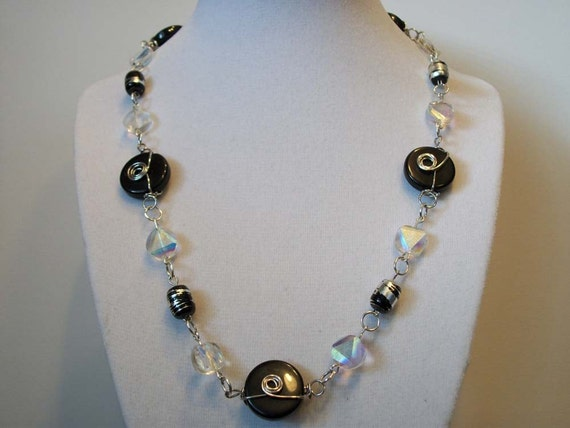 Black Wire Wrapped & Iridescent Bead Necklace