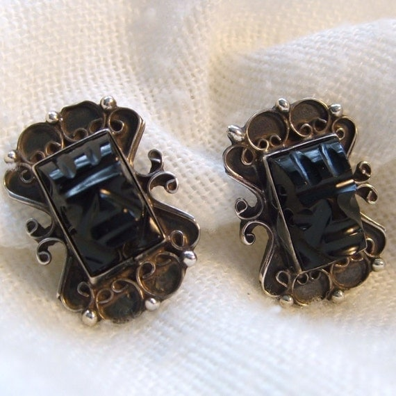 Vintage Santoyo Onyx Mask Earrings Sterling by anothertimeantiques from etsy.com