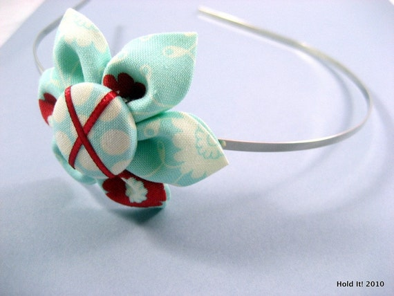 Kanzashi Fabric Flower Headband Aqua Flower Leaves Photo Prop