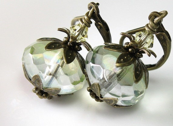 Chrysolite Czech Glass Swarovski Vintage Style Earrings