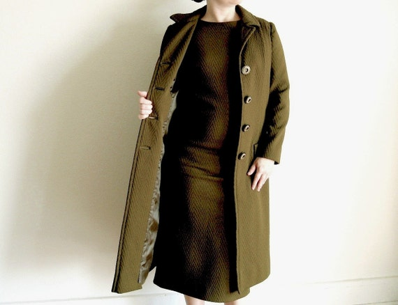 Vintage Dress - 60s Olive Green Mod Dress and Jacket