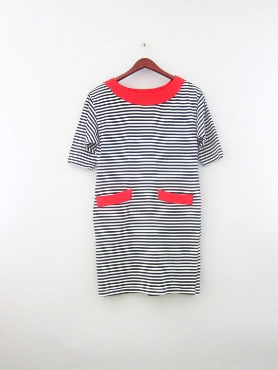 Vintage 80s Sailor nautical Mini dress M