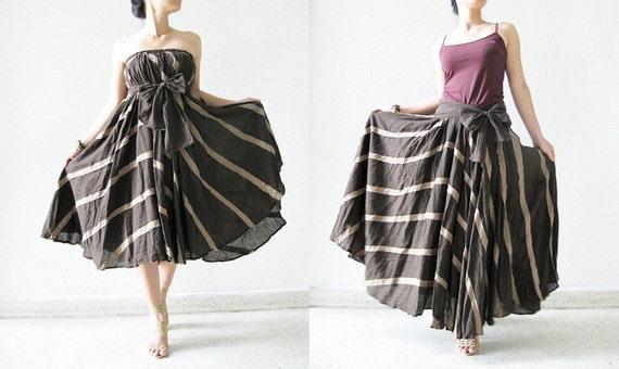 دو دامن پنبه قهوه ای / لباس