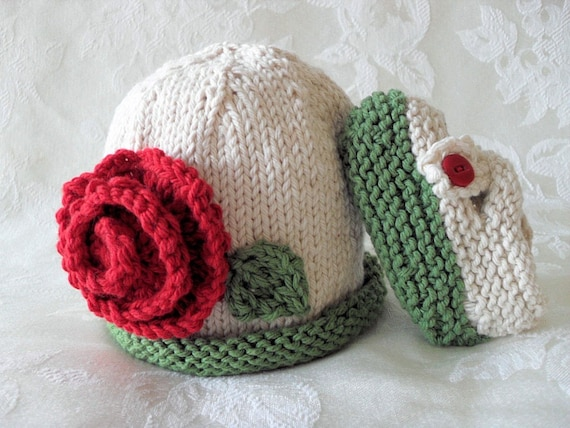 COTTON HAND KNITTED Rose Garden Baby Beanie and Matching  Cross-Strapped Booties
