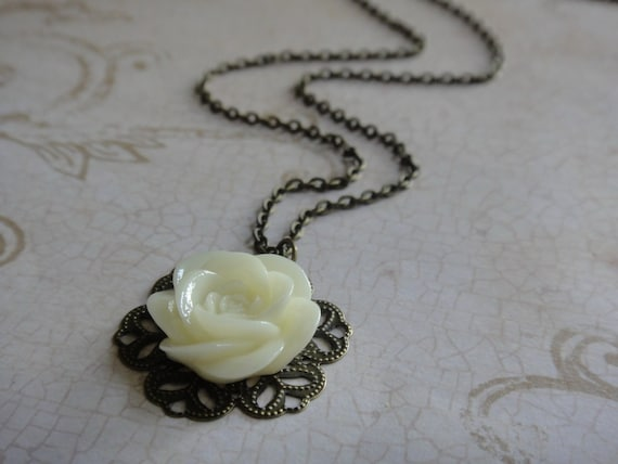 Buttercream Rose Flower Cabochon Necklace