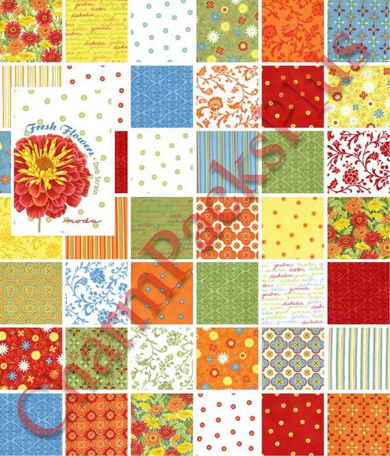 NEW - FRESH FLOWERS Moda Charm Pack - Quilt Fabric Squares