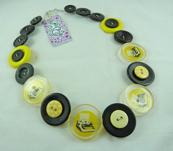 Yellow Typewriter Button Necklace