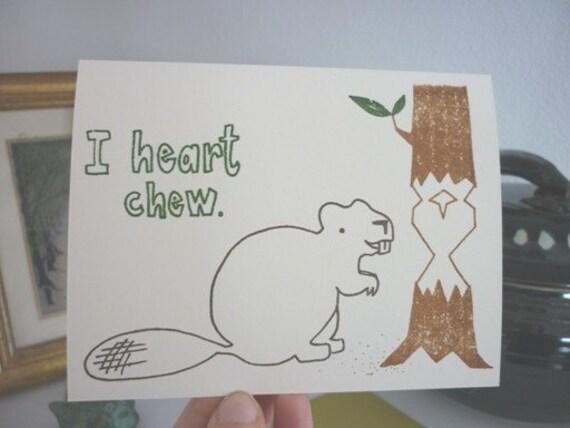 I Heart Chew - Gocco Valentine Card