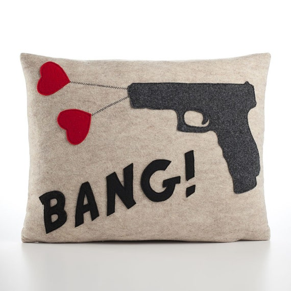 BANG recycled felt applique pillow 14x18