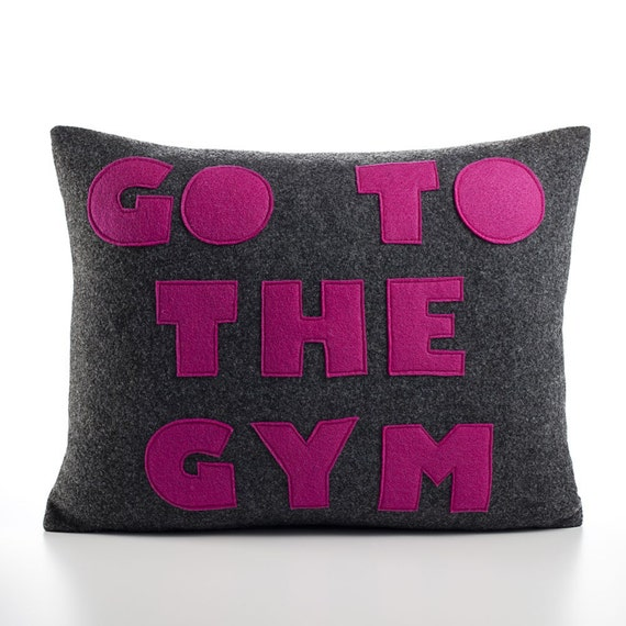 GO TO the GYM Felt Applique Pillow 14x18 inch charcoal and fuchsia