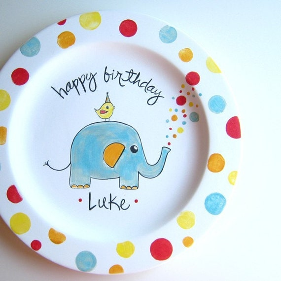 The Elephant Birthday Plate- Personalized