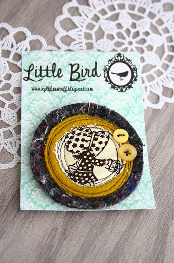 Mustard Holly Hobbie Brooch - Felt and Vintage Fabric