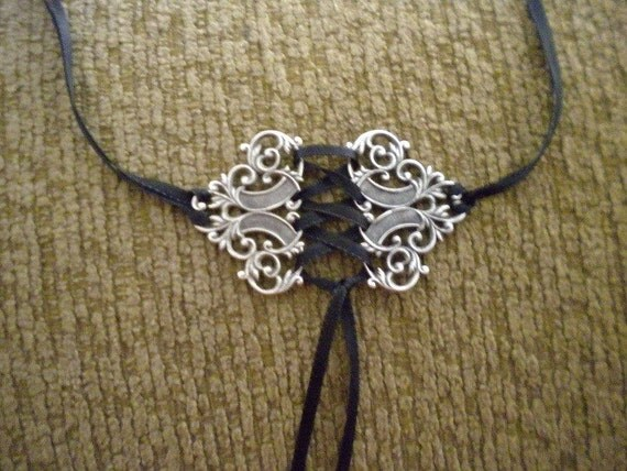 Ornate Black Satin Corset Choker Victorian Lolita Gothic Steampunk