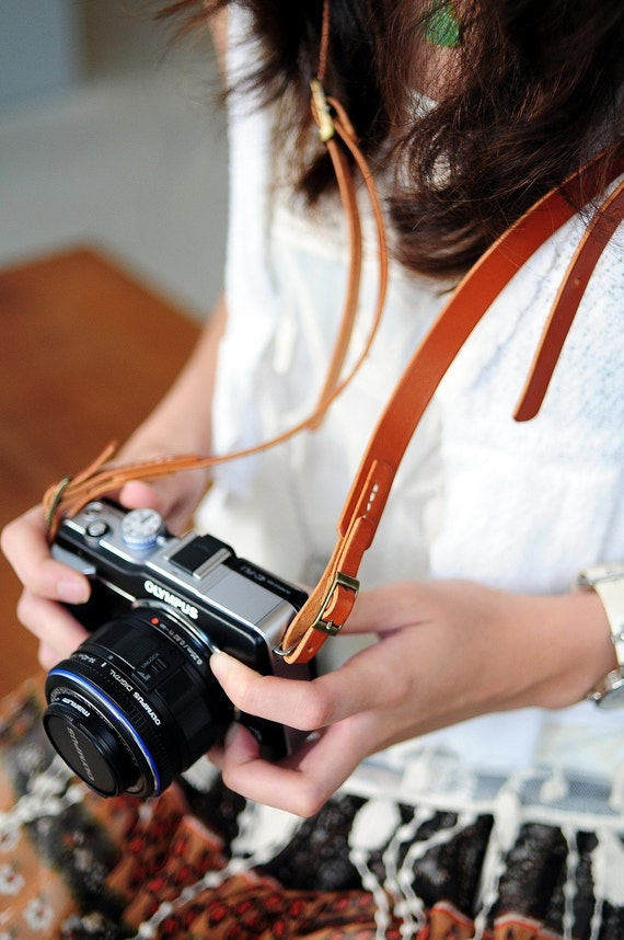 Hand Stitched Light Brown Leather Camera Strap