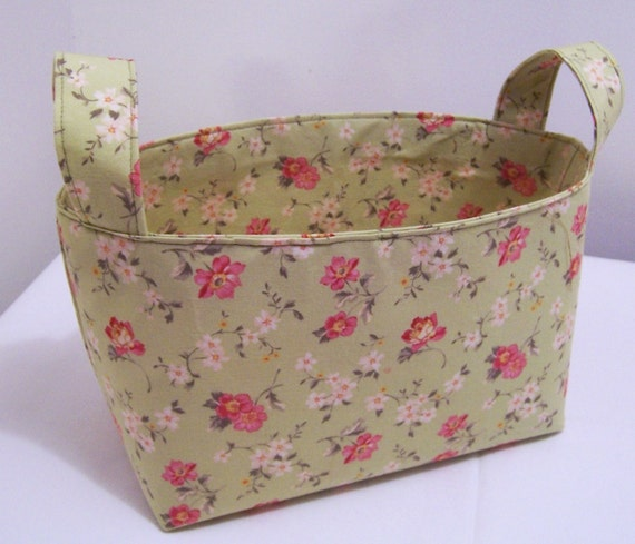 fabric bin basket sage green pink and white flowers