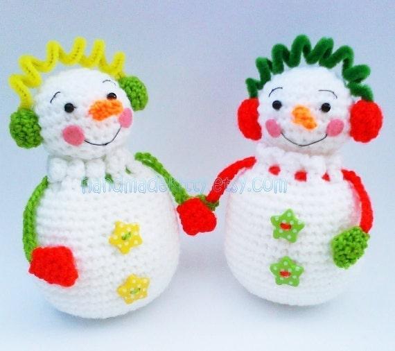Snowman Couple Pouch Gift Bag Amigurumi PDF Crochet Pattern