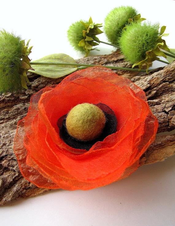 Ручной чистой цветок из органзы брошь - ORANGE МАК