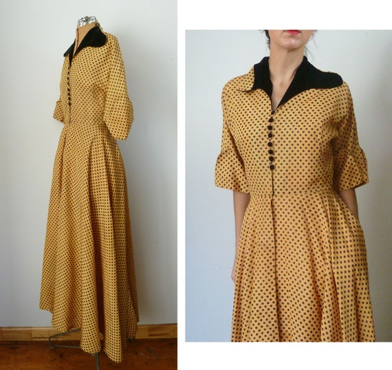 Vintage 50s POLKA DOT Gown
