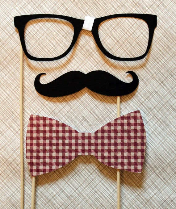 Mustache, Bow Tie, and Geek Glasses on a Stick -  Three Peice Photobooth Prop Kit