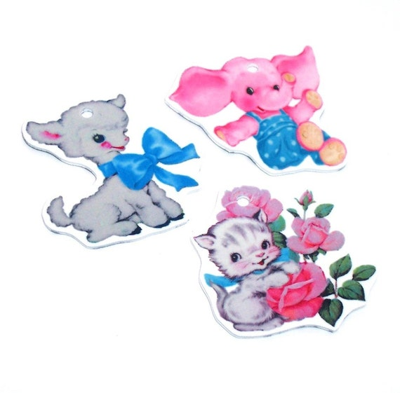 3, Kawaii Cutie ANIMAL pendant CHARMS ... handcut, kitsch, retro