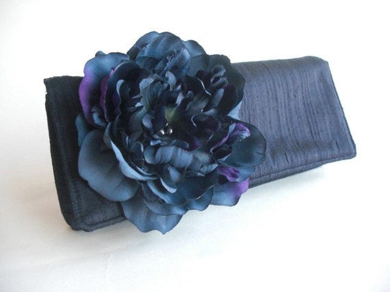 Something Blue Peony Envelope Clutch by keepbags on Etsy from etsy.com