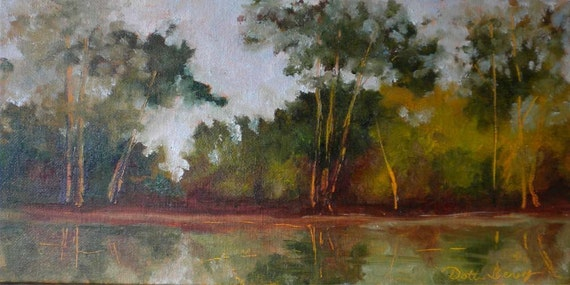 Avery Island Heat oil painting on board 12x6